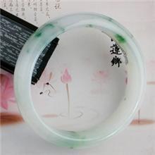 飘蓝花灵动精美翡翠手镯2