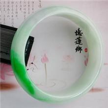 正阳绿飘翠细腻美貌宽条大圈口翡翠手镯2