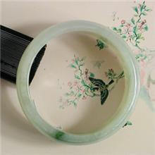 冰糯种飘蓝花宽条翡翠手镯9